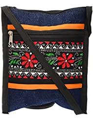 Shanti Niketan Home Made Products Women's Sling Bag (Blue And Black, SNHMP24)