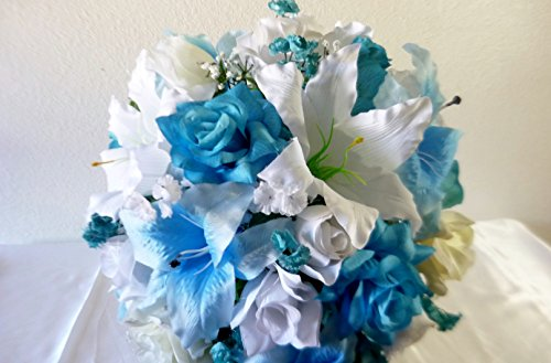 Turquoise Ivory White Rose Tiger Lily Bridal Bouquet & Boutonniere