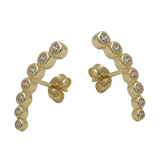 Stud Earrings Bow Earrings with Cubic Zirconia 375 Yellow Gold