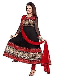 Kimisha Black Georgette Anarkali Unstitched Dress Material