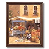 Southwestern Spanish Market Landscape Home Decor Wall Picture Cherry Framed Art Print