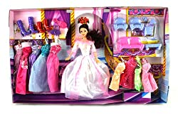 Fashion Castle Queen Toy Doll Playset, Comes w/ Doll, Variety of Unique Dresses, Toy Furniture, Acce