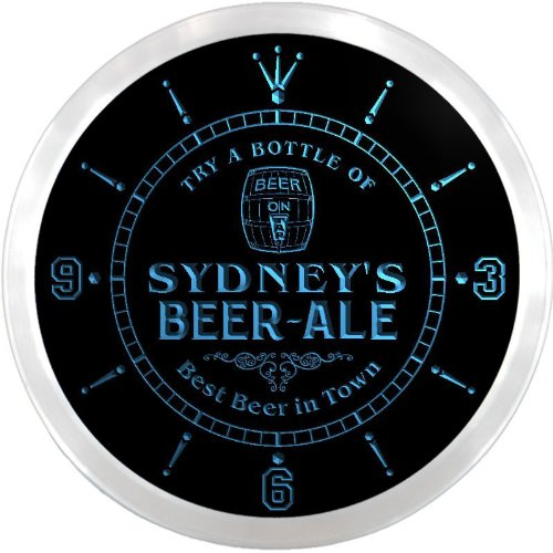 Ncpn0843-B Sydney'S Best Beer Ale In Town Bar Pub Led Neon Sign Wall Clock