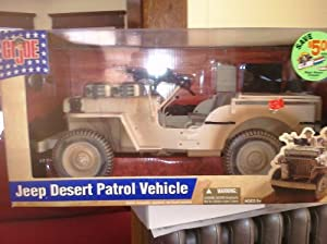 "12"" GI Joe WW II DESERT PATROL WILLYS JEEP Action Figure Vehicle 1:6 Scale (2002 Hasbro)"