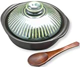 8 inch Hot Pot / donabe / for cooking nabe , Soup , stew , Ramen noodle and rice etc. - Premium Ceramic with wood spoon Made in Japan (Green tea)