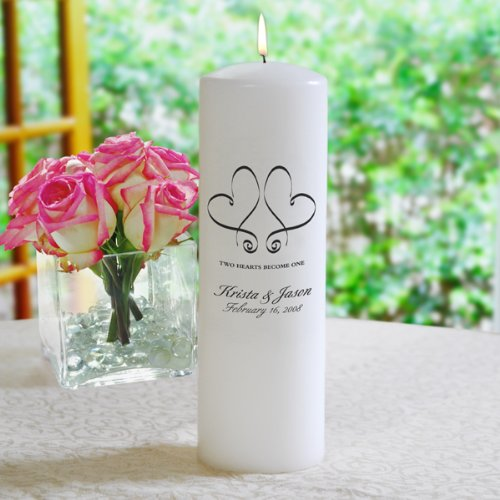 Personalized Whimsical Hearts Unity Candle