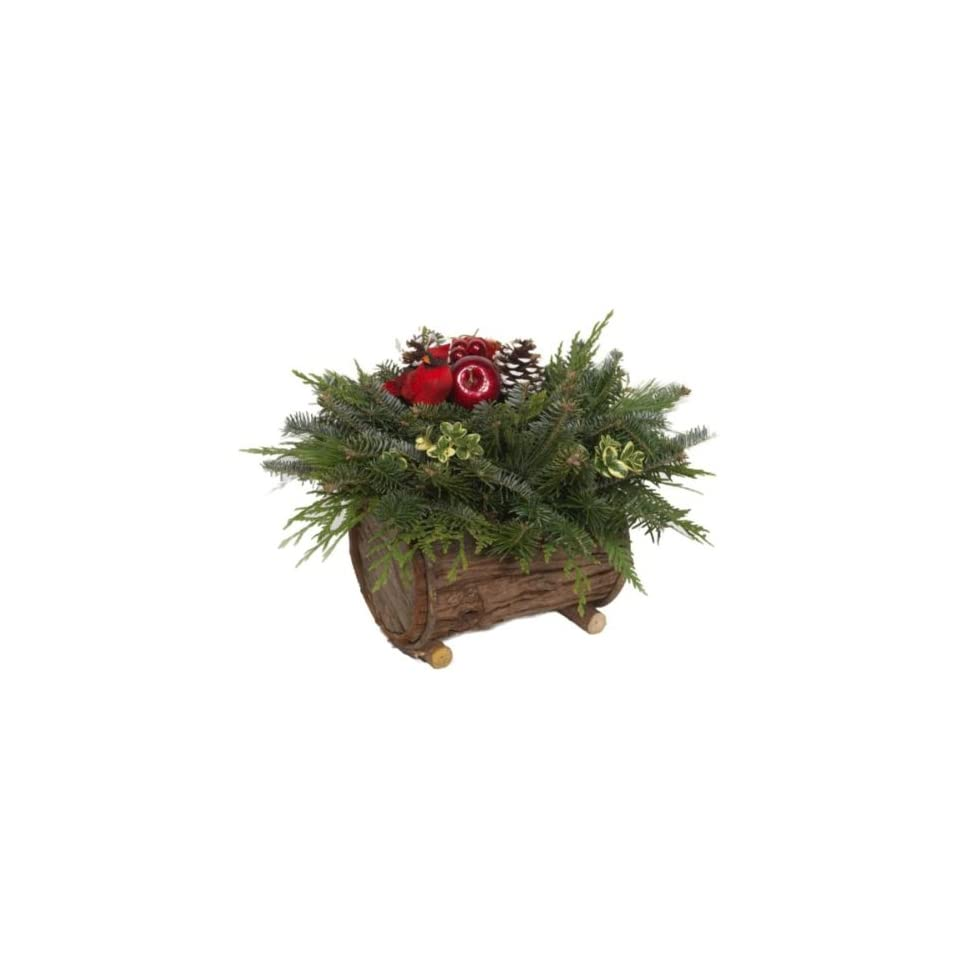 The Christmas Tree Company Christmas Cabin Fresh Mountain Evergreens Log Centerpiece