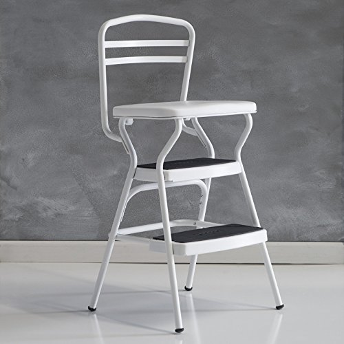 Cosco 11130whte White Retro Counter Chair Step Stool