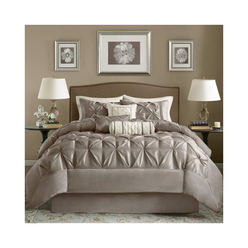 Madison Park Laurel 7-Piece Comforter Set - Mushroom - Queen front-718490