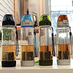 Generic 500Ml Portable Fruit Tea Infusing Water Bottle Leak Proof Outdoor Sport Water Bottle With Infuser(Dark Blue)