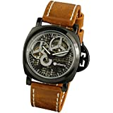 INFANTRY Mens Skeleton Black Dial Hand-Wind Up Mechanical Watch Stainless Steel Brown Leather Strap
