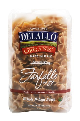 DeLallo Organic Whole Wheat Farfalle #87, 16-Ounce Units (Pack of 16) (Bow Pasta compare prices)