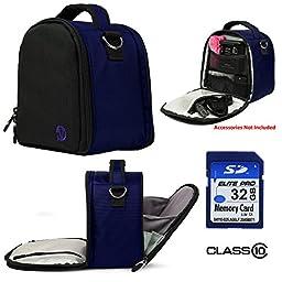 Nylon SLR Bag - Blue For Canon EOS Rebel T5i, T5, T3i, T3i, T6s Digital SLR Camera + 32GB Class 10 SD Card