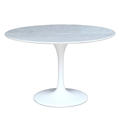 "48"" Eero Saarinen Style Tulip Dining Table with White Marble Top"