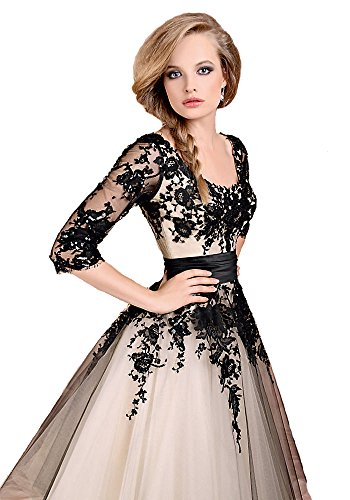 Scarlett Tea Length Lace Wedding Prom Ball Gown Evening Formal Party Dress (8