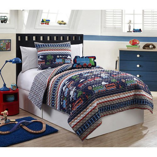 Train Themed Bedroom: Furry Friends 3 Piece Train Theme Boys Twin Quilt Bed Set