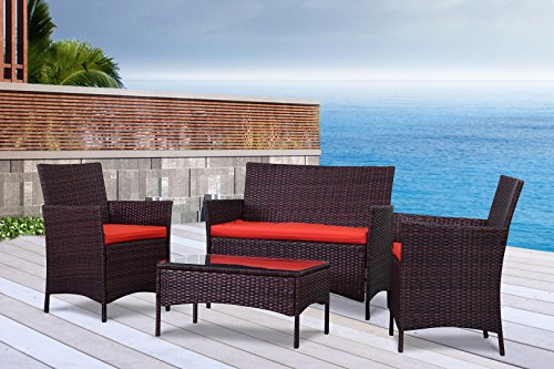 The French Riviera Collection – 4 Pc Outdoor Rattan Wicker Sofa Patio Furniture Set. Choice of Set & Cushion Color (Mixed Brown / Rust Cushions)