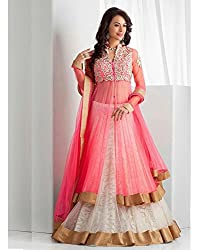 shubham creation women's pink panther net braso dress material