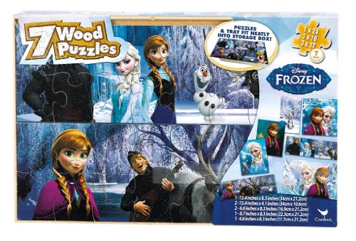 Disney Frozen 7 Wood Puzzles in Wood Storage Box (styles may vary)