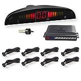 WIKOOL 高性能 バックセンサー 12V車用 パーキングセンサー アラーム モニター付き 8個センサー(22MM) 1年間保証 ブラック