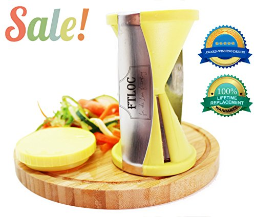 ★ #1 Best Spiralizer Spiral Vegetable Slicer As Seen On Tv With 2 Sizes Julienne Peeler & Vegetable Spiral Cutter ★ Professional Grade Stainless Steel With Premium Japanese Blades ★ Vegetable Noodle Maker, Zucchini Spaghetti Maker, Perfect For Carrot, Rad