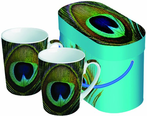 Paperproducts Design Paradise Peacock 8-1/2-Ounce Mug, Set Of 2