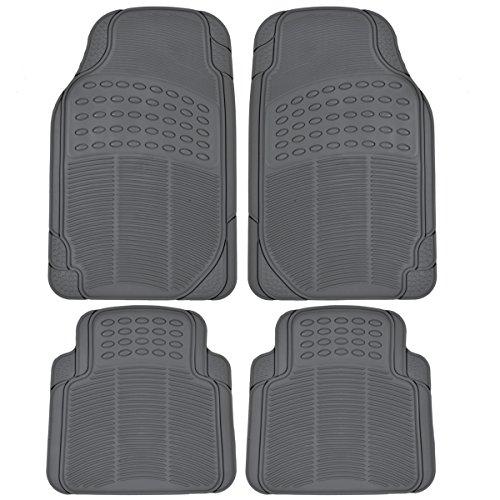 BDK 4-Piece Heavy Duty All Weather Protection Floor Mat - Rubber (Gray) (All Weather Mat Cleaner compare prices)