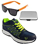 Spot On Men's Navy Blue Green Running Shoes With Lotto Sunglasses And Cardholder Combo UK-6