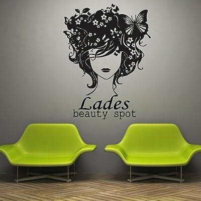 Wall Decal Decor Decals Art Beauty Salon Lady Makeup Face Visagist Stylist Butterfly Hair Head Inscription Signboard Gift (M724)