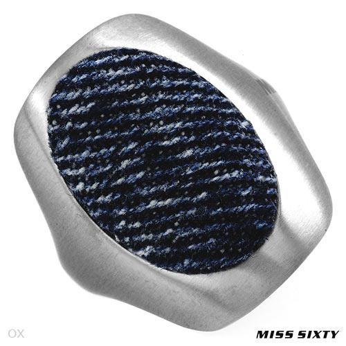 MISS SIXTY Made in Italy Stylish Ring Well Made in Blue Denim and Stainless steel. Total item weight 11.0g (Size 6)