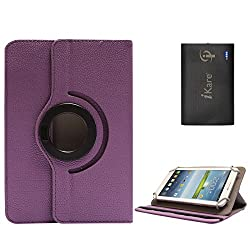 DMG Portable Foldable Stand Holder Cover Case for Vizio Vz-706 (Purple) + 6600 mAh Three USB Port Power Bank