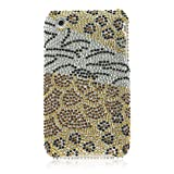 Black Gold Animal Pattern Full Diamond Crystal Snap on Hard Cover Faceplate Case for Apple IPhone 3G 2nd Gen