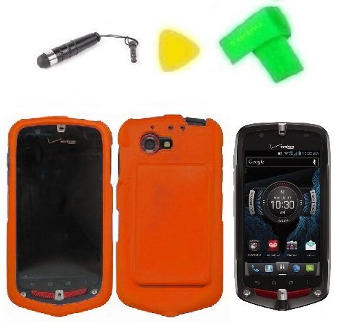 Phone Cover Case Cell Phone Accessory + Extreme Band + Stylus Pen + Lcd Screen Protector + Yellow Pry Tool For Verizon G´Zone Commando 4G Lte / Casio Gzone Commando 4G Lte C811 (Orange)