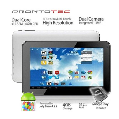 Prontotec 7 Inch Android Tablet Pc, A20 Cortex A8 Dual Core 1.5 Ghz, Android 4.2.2, 4g Rom, Ddr3 512m Ram, Dual Cameras, Standard USB Port, Wi-fi, G-sensor (White)