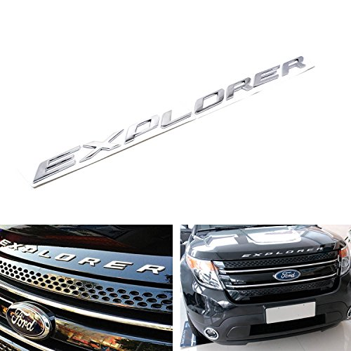 8-letter/set Silver Chrome Finish Front Hood 3D Letters Stickers Fit For 2011-up Ford Explorer (2011 Ford Emblem compare prices)