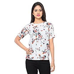 Ossi Regular Fit Off White Floral Short Sleeve top (HS3083-S)