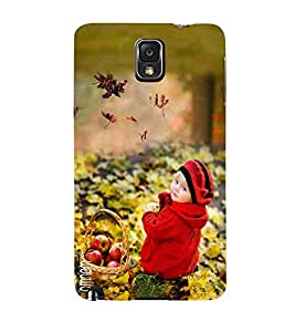 Omnam Sweet Little Boy In Park Sitting With Fruit Basket Desginer Back Cover Case For Samsung Galaxy Note 3