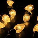 M&T TECH 30 led Christmas Lights Solar String Lights For Outdoor Patio Garden Lawn Fence pergolas Party with Warm White Strawberry