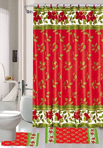 Seasonu0027s Greetings 15 Piece Shower Curtain Bath Set 1 Bath Rug 1 Contour  Mat 1 Shower Curtain 12 Piece Matching Fabric Shower Curtain Rings  (Seasonu0027s ...