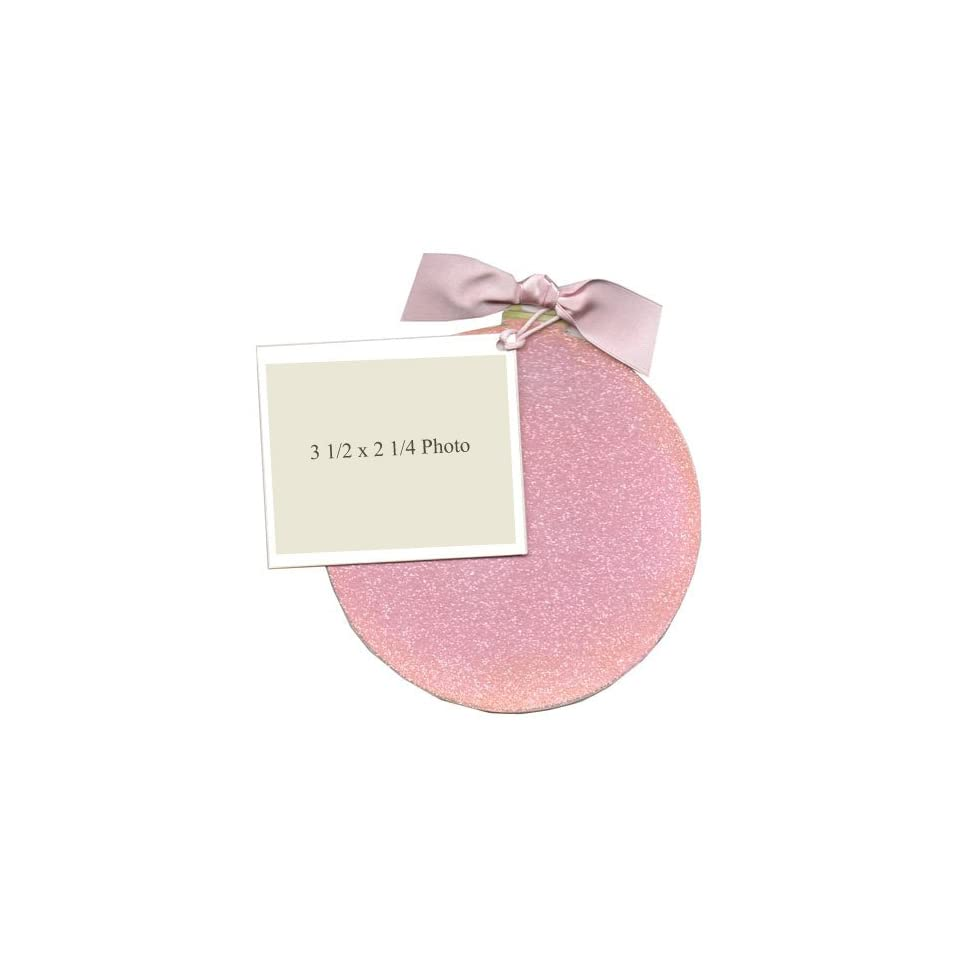 Pink Glitter Christmas Ornament Die cut Card, Pack of 10
