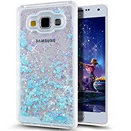 Galaxy A5 Case,NSSTAR Galaxy A5 [Liquid] Case [Bling] Hard Case,Fashion Creative Design Flowing Liquid Floating Luxury Bling Glitter Sparkle Love Heart Shape Hard Case for Samsung Galaxy A5 (Blue)