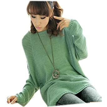 Fashion Ladies Batwing Round Neck Long Sleeve Knitted Pullover Sweater (Pea Green)