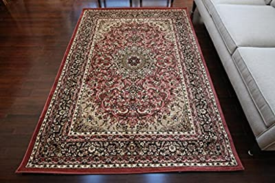 Feraghan Dusty Rose Salmon Traditional Isfahan Wool Persian Area Rugs Rug 4018rose