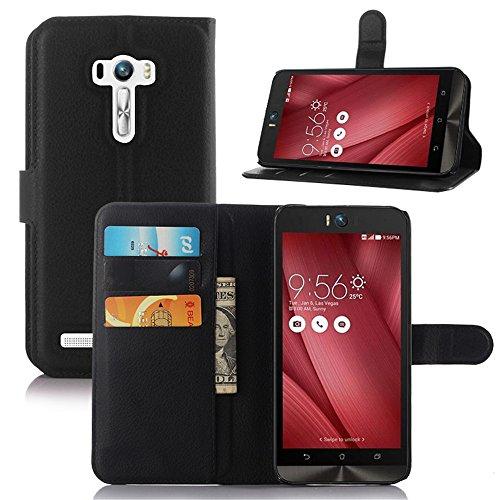 Asus Zenfone Selfie ZD551KL 専用ケース PopSky™全7色  Zenfone Selfie  ライチ紋手帳型カバー 最高品質のPUレザー 超軽量カードスロット付きの専用保護ケース (Asus Zenfone Selfie, ブラック)