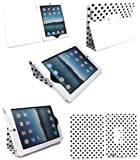 Flash Superstore New Ipad 3 & Apple Ipad 2 Multifunctional / Multi Angle Wallet / Cover / Stand / Typing Case In Polka Dots White / Black (All versions Wi-Fi and Wi-Fi + 3G/4G - 16GB 32GB 64GB)