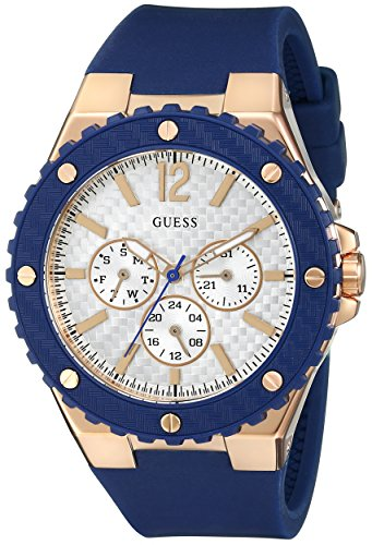 GUESS para mujer U0452L3 Blue and Rose Gold-Tone Multi-function Sport reloj