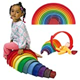 51ElugXkpjL. SL160  Grimms Extra Large 12 Piece Rainbow Stacker   Wooden Nesting Puzzle/Building Blocks