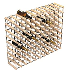 RTA 90-Bottle Ready-to-Assemble Wine Rack - Natural Pine / Galvanised Steel