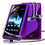 Sony Xperia Miro ST23i Purple S Line Wave Gel Case Skin Cover With LCD Screen Protector Guard, Polishing Cloth & Hands Free Earphone with Built in Microphone Mic & On-Off Button by Fone-Case