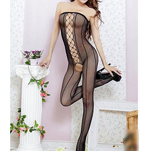 Sexy Damen geöffnete Gabelung über Bust Niedriger Schnitt Netzstrumpf Wäsche Nachtwäsche Overall (schwarz)